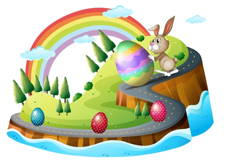Illustration of an Easter day with easter eggs on a white background Vector