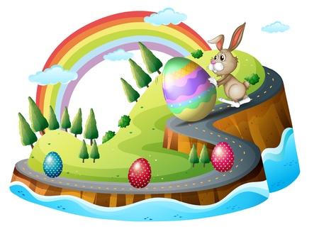 fondos religiosos: Ilustraci�n de un d�a de Pascua con los huevos de Pascua sobre un fondo blanco