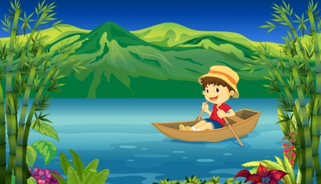 rowing boat: Illustration of a smiling boy in a boat and a beautiful nature background Illustration