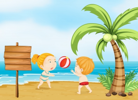 young boy beach: Illustration of two children playing volleyball Illustration