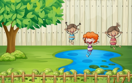 kids playing water: Illustration of girls swimming in a pond