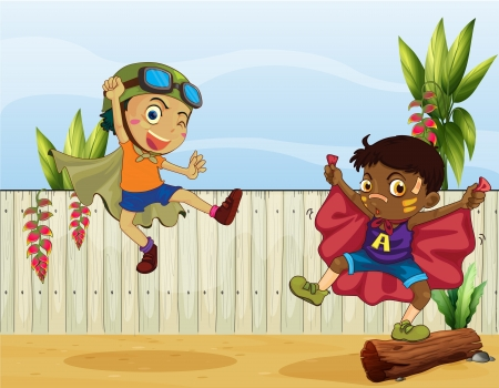 Illustration of dancing kids and a fence Vector