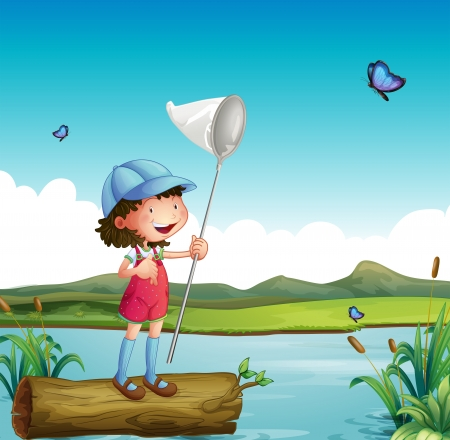 Illustration of a girl catching butterfly and a river Illustration