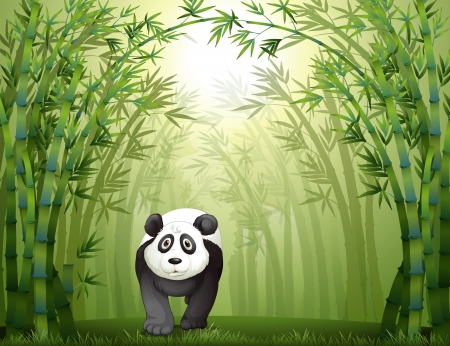 cartoon panda: Illustration of a panda bear walking in a bamboo forest
