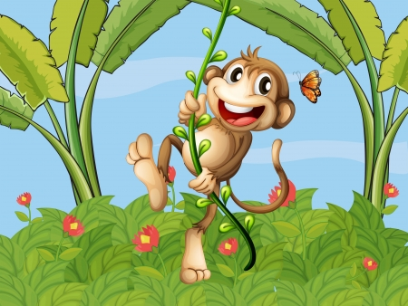 Illustration of a hanging monkey and a beautiful nature Vector