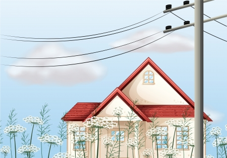 metal pole: Illustration of a red color roof house