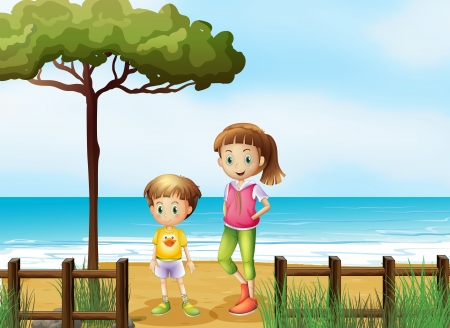 younger: Illustration of a smiling boy and a girl standing on a beach