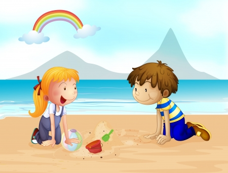 Illustration of a smiling kids on the beach and a rainbow