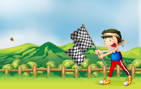 Illustration of a boy holding flag and a beautiful nature background Vector