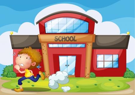 running pants: Illustration of a kid running