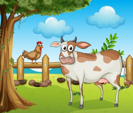 steel  milk: Illustration of a cow, a hen and a beautiful landscape