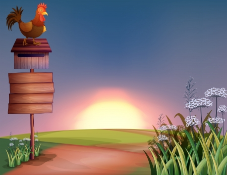 way bill: Illustration of a rooster above a mailbox