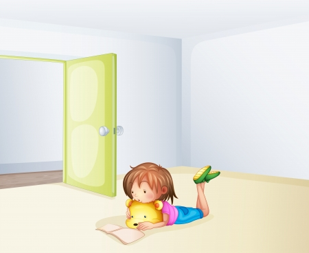 Illustration of a girl studying in a room Vector