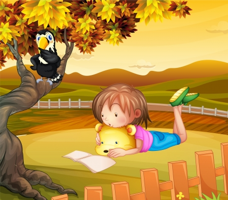 park herbst: Illustration eines M�dchens Studium au�erhalb Illustration