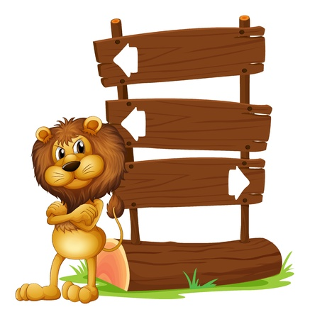 Illustration of an angry lion beside a signboard on a white background Vector