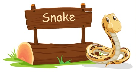 constrictor: Illustration of a snake beside a signboard on a white background
