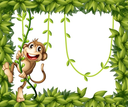 funny pictures: Illustration of a monkey in a leafy frame