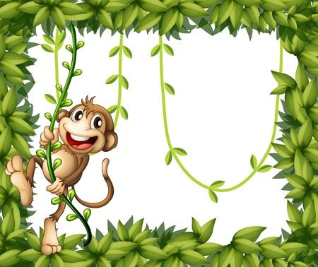 vine border: Illustration of a monkey in a leafy frame