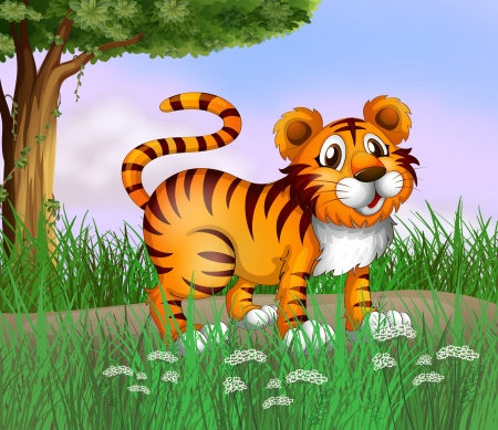 Illustration of a tiger and a beautiful nature Vector