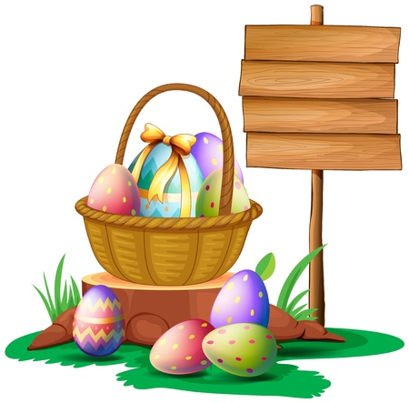 wooden signboard: Illustration of Easter eggs near a wooden signboard on a white background