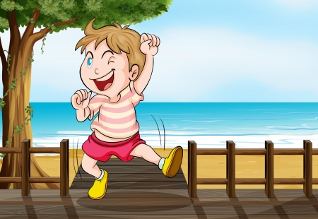 Illustration of a boy dancing on a wooden platform on a beach Stock Vector - 17896601