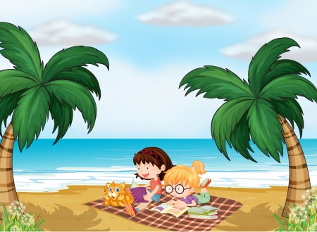 picnic blanket: Illustration of girls reading near the beach with a cat