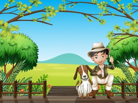 Illustration d'un garçon souriant et un chien assis sur une estrade de bois