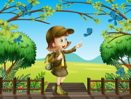 Illustration of a smiling girl standing on a wooden platform Vector