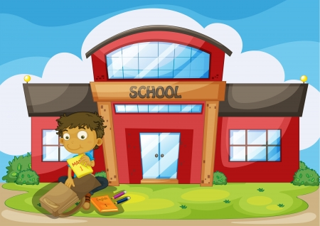 Illustration of a boy arranging his things in front of the school Stock Vector - 17896418