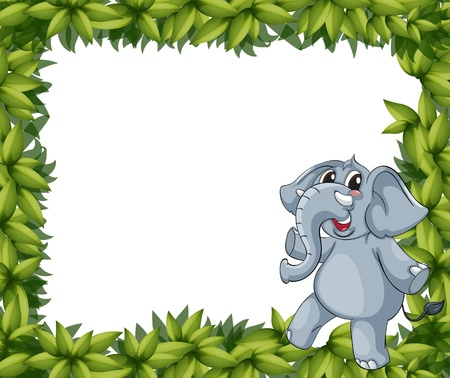 Illustration of a smiling elephant and plant frame Vector