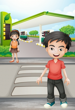 pedestrian crossing: Illustratio of a boy and a girl near the gasoline station
