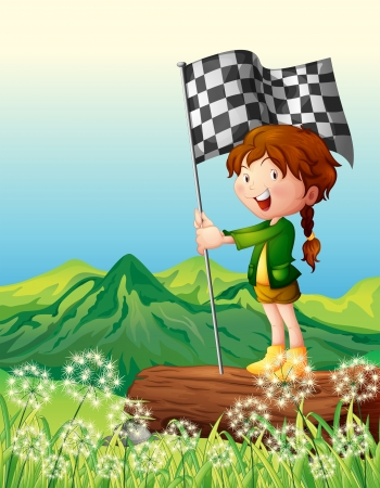 finish flag: Illustration of a girl holding flag standing on a dry wood