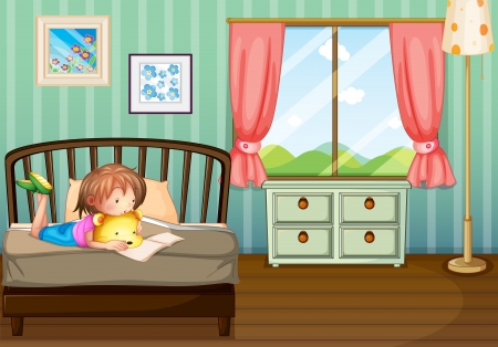 woman lying in bed: Illustration of a girl studying in her room Illustration