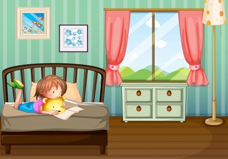 mujer acostada en cama: Ilustraci�n de una ni�a estudiando en su cuarto