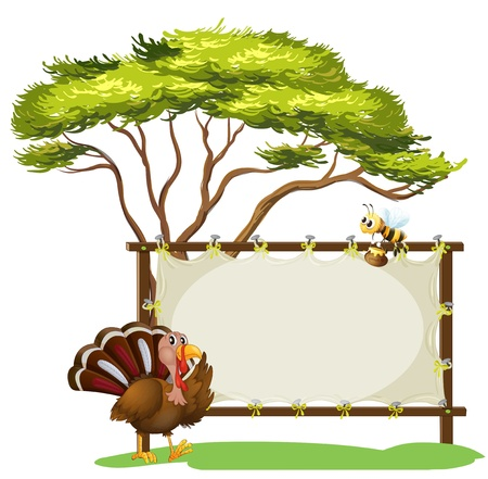 caruncle: Illustration of a turkey and a bee on a white background