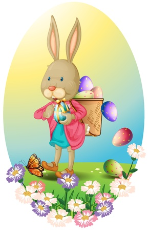 Illustration of a bunny carrying a bag of Easter eggs on a white background Vector