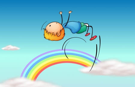 flying man: Illustration of a boy jumping in the sky and a rainbow Illustration