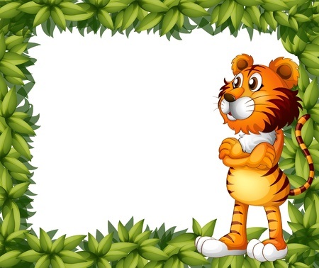 animal border: Illustration of a smiling tiger and plant frame on a white background