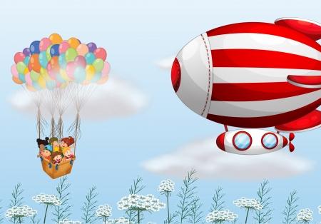 blimp: Ilustraci�n de los globos de aire caliente con ni�os Vectores