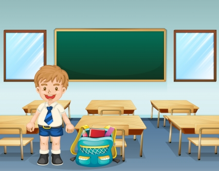 class room: Illustration of a student wearing a complete uniform