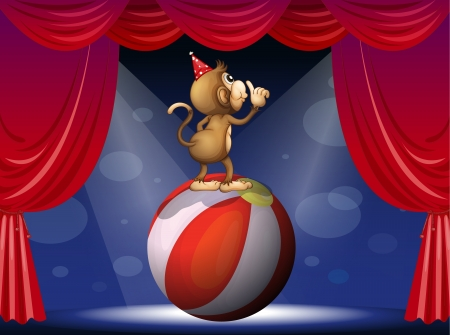 centerstage: Illustration of a monkey performing in the circus Illustration