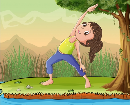 Illustration of a girl exercise under a tree Vector