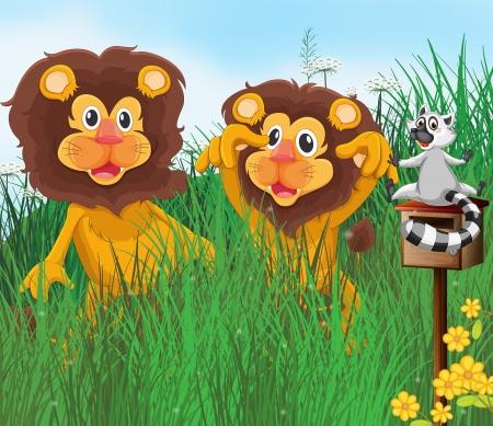 three animals: Illustrazione di tre animali in erba