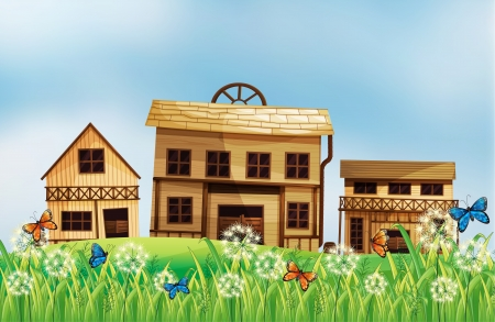 Illustration of the different wooden houses Stock Vector - 17896723