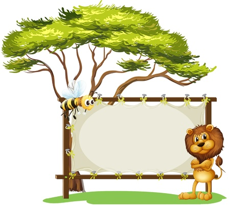 Illustration of a scary lion and a bee on a white background  Vector