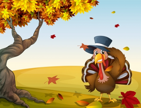 caruncle: Illustration of a turkey in an autumn scenery