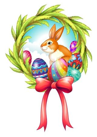 lapin sur fond blanc: Illustration d'un décor de Pâques avec un ruban sur un fond blanc