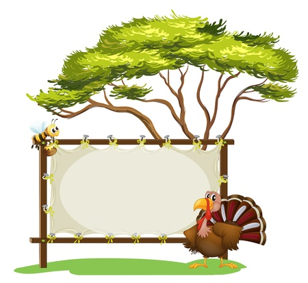 Illustration of a notice board, a bird and a honey bee on a white background Stock Vector - 17896496