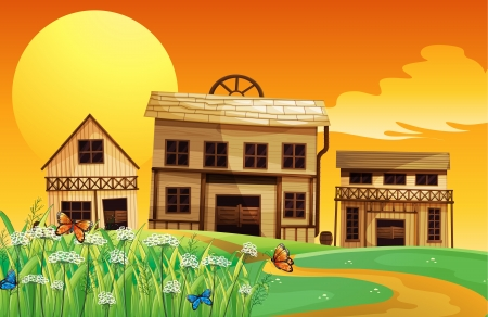 Illustration of a house and a sunset view Vector