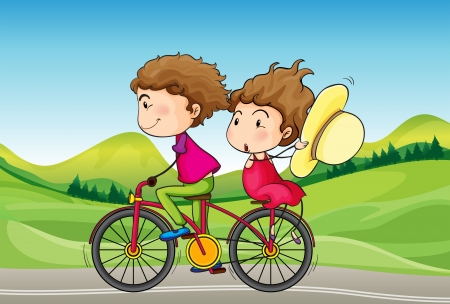 Illustration of a girl and a boy riding in a bike Vector